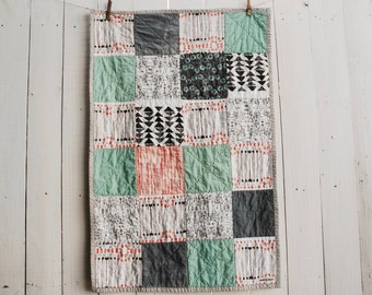 Organic Patchwork Crib Quilt - Organic Cottons - Peach, Coral, Mint, Grey, and Black, Made to Order