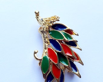Brightly Colored Enamel Peacock Brooch Vintage Figural Fashion Jewelry
