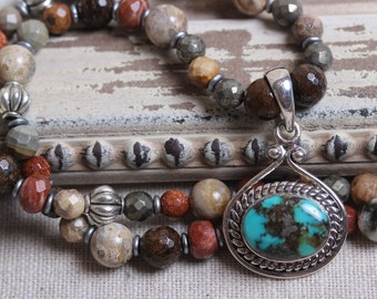 Southwestern Turquoise & Sterling Pendant with Mixed Semi Precious Beaded Necklace