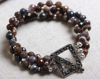 3 Strand Pietersite Beaded Bracelet with Ornate Rectangular Toggle Clasp - Regal & Rich