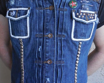 Denim Punk Studded Vest Large XL