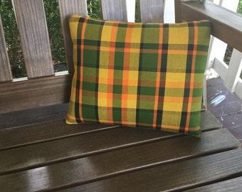 Yellow Westfalia Plaid Pillow, Medium