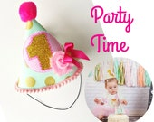 Baby Girl 1st Birthday Party Hat Pink, Gold and Mint to match First Birthday Onesie Designs