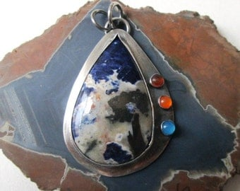 Blue White and Orange Sodalite Teardrop Pendant with Carnelian, Amber and Chalcedony in Sterling Silver Necklace Jewelry