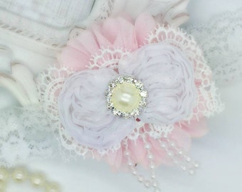 Vintage pink and white headband, baby headband, newborn headband, girls headband, flower headband