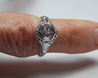 Antique Filigree Diamond 14K White Gold Deco Engagement Ring .25Ct Size 6