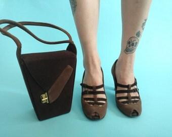 1940s Two Tone Peep Toe Heel Shoe Purse Set Brown Size 8 Stylecraft Tweedies
