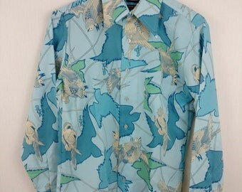 1970s Woody Woodpecker Print Disco Shirt Walter Lantz Medium Light Blue