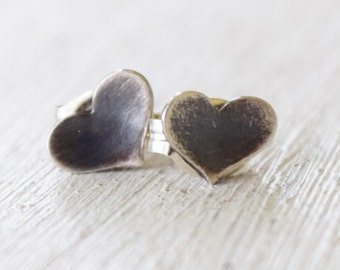 Silver Heart Earrings - Tiny Hearts - Little Hearts - Love - Romantic - Gift For Her - Gift For Teen - Oxidized - Blackened - Rustic
