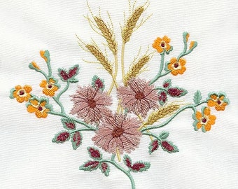 Fall Machine Embroidered, Wheat and Flower Bouquet Design Towel, Embroidery Hand Towel, Guest towel for Bath, Hostess Gift
