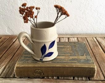 Vintage Williamsburg Crock Mug Blue and Beige