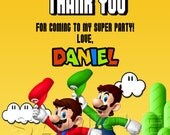 Mario & Luigi Thank You Card, Mario and Luigi, Mario Bros Thank You Card, Luigi Thank Card, Personalized Digital Thank You Card