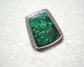 Chatoyant Malachite and Silver Ring Artisan Jewelry