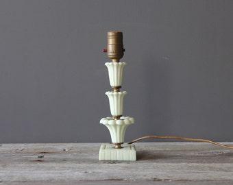 Mint Green Milk Glass Bedside Table Lamp