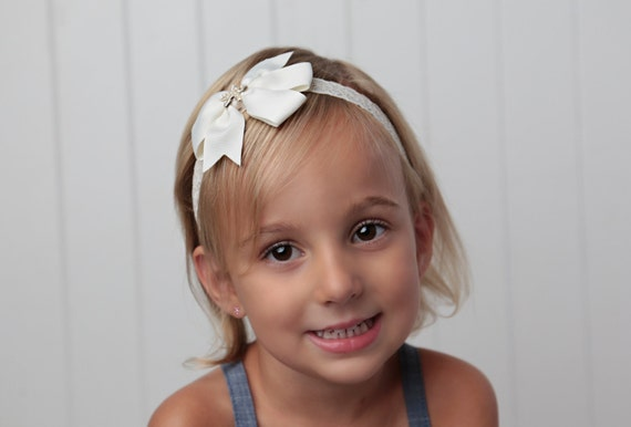 Ivory Ribbon Bow Headband with a Gold Starfish Center on Vintage Lace for newborns to adults perfect for photoshoots