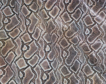 """Leather 12""""x12"""" COPPER BROWN Boa Snake embossed Leather Cowhide  2.5-2.75 oz / 1.1 mm PeggySueAlso™ Trial E1580-01"""