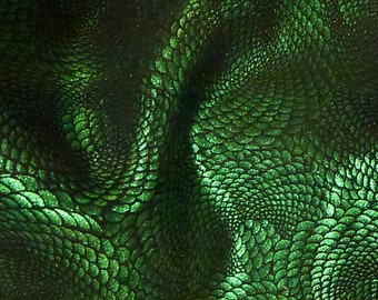 """Leather 20""""x20"""" Chinese Dragon EMERALD Green Metallic On Black Cowhide 3-3.5 oz / 1.2-1.4 mm - PeggySueAlso™ Full hides available"""