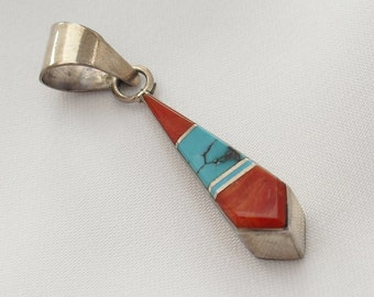 Vintage Zuni Earrings, Native American, Artist Signed Turquoise Coral Silver Inlay Jewelry