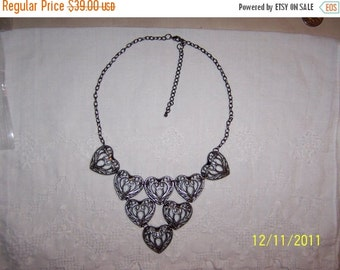 CLEARANCE SALE Vintage Style Filigree hearts necklace. Gun metal color.