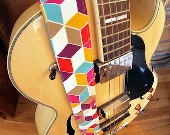Guitar Strap - Colorful Geometric Design with Up-cycled Denim Backing, Leather Ends - Bass Strap, Instrument Strap