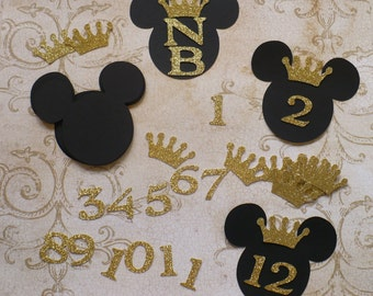 Small Black Prince Mickey Mouse 3.5 inch Heads Die Cuts 4 DIY Crafts Baby Centerpiece 1 - 12 months 4 pictures Happy Birthday Party