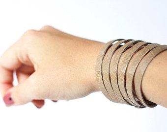 Leather Bracelet / Original Sliced Cuff / Taupe Snake