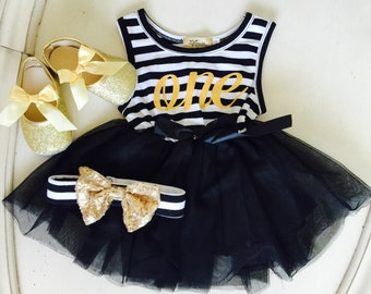 Baby Girl First Birthday outfit dress, Black and white with gold glitter bow Headband ,Baby Girl party dress.