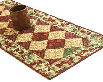Quilted Fall Table Runner, Bears, Autumn Leaves Table Topper, Red Cream Green, Rustic Cabin Decor, Table Quilt