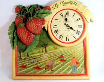 SALE! Large Vintage French Clock, Handpainted Wood & Plaster Strawberry Picking Shabby Chic Farmhouse Wall Clock Dewberry London