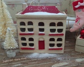 WEEKEND SALE! 1:144 Dollhouse Miniature Shabby Christmas Cottage for your Dolls One Inch Scale Mini