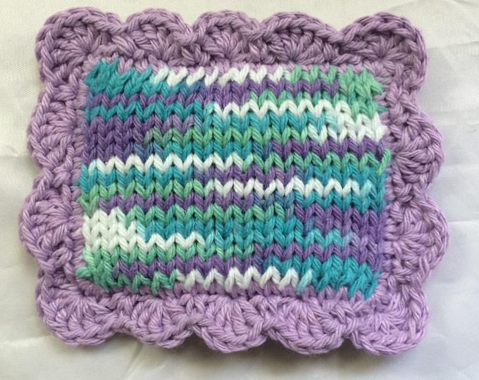 Knitted  Scrubby / Pot Scrubber / Dish scrubbie / Dish Cloth / Sponge / Nylon Scrubbie / Scrubber / Water Lilies