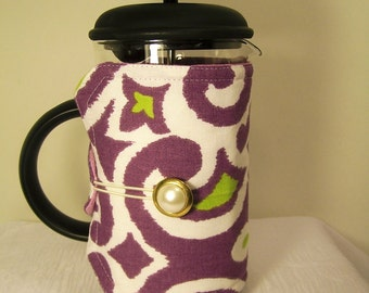 French Press Cozie, Insulated Coffee Pot Cozy, Bodum 8 Cup Press Pot Cosy, Purple, Hot Pot Sleeve Cozie