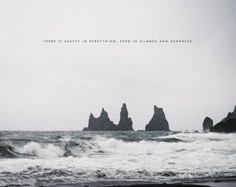 Reynisdrangar Iceland, Black Sand Beach, Iceland Photography, Iceland Print, Dark Ocean Art, Roaring Sea, Iceland Photo, Iceland Beach