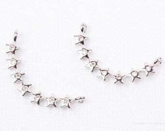 P692-R// Rhodium Plated Star Cubic Arch Pendant, 1 pc