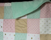 Mint Green, Pink and Gold Baby Crib Quilt/Blanket