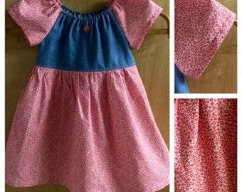Denim and Cotton Peasant Dress, size 4t