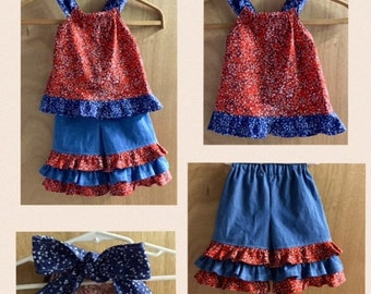 Summer Top and Denim Ruffle Capris, size 2t