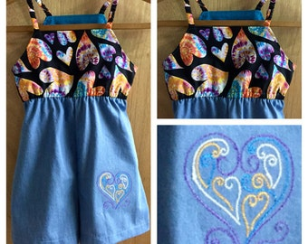 Cotton and Denim Hippie/Boho Summer Shorts Jumper, girls size 8