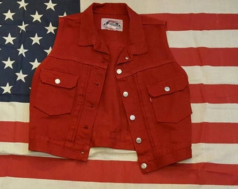 Vintage 1980's Levi's Oxblood Button Down Red Jean Vest, Size Small