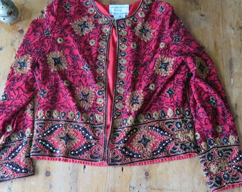 "SALE///Vintage SEQUINED Beaded Heavy ""Chaquetilla"" Trophy Jacket, Size M"