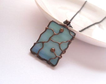 Stained glass, wire necklace, contemporary jewelry, turquoise, gift for women, statement necklace, bohemian, Separate paths