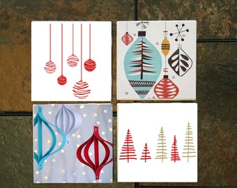 Modern Christmas Coaster Set