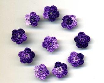 Dollhouse Miniature Applique Flowers Mauves Miniature Embellishment Set of 10 Crocheted Flowers