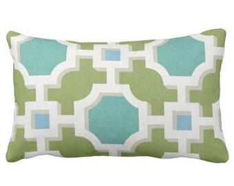 Outdoor Pillows,Blue Green Outdoor Pillows,Outdoor Chair Pillow,Throw Pillows,Patio Pillows, Outside Chevron Pillows,Pillow Covers