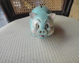 Piggy Coin Bank - Hubley Style Cast Metal Piggy Bank - Original paint - Excellent Patina