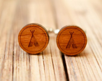 TeePee Cuff Links, Laser Cut Wood, Laser Etched Tee Pees, Native American Home, Rustic Tribal, Grooms Groomsmen Gift, Laser Etched Design