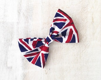 Union Jack, Great Britain Pin up Hair Bow Clip. Patriotic, Punk