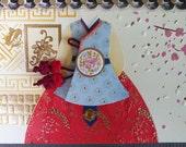 Korean Traditional Designed Envelope with Memo Card - Korean Traditional Cloth Hanbok 3