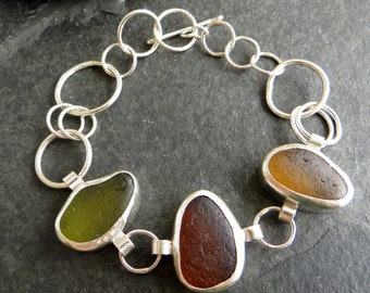 Sea Glass Bracelet, English Seaglass, Autumn Sea Glass, Fall Jewelry, Sterling Silver Chain Bracelet, Seaglass Jewellery, UK Sellers Only