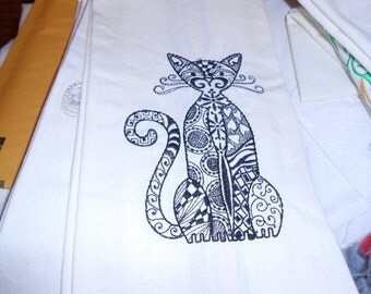 NEW kitchen Tea Towel embroidered with CAT Zendango style